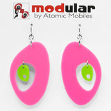 MODular Earrings - The Modernist Statement Earrings in Hot Pink and Lime by AtomicMobiles.com - retro era inspired mod handmade jewelry
