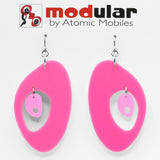 MODular Earrings - The Modernist Statement Earrings in Hot Pink by AtomicMobiles.com - retro era inspired mod handmade jewelry