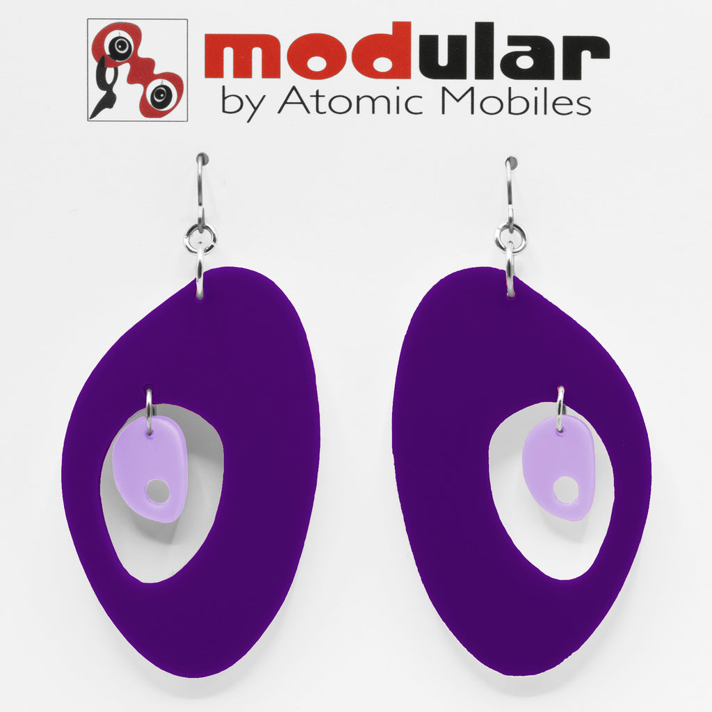 MODular Earrings - The Modernist Statement Earrings in Purple by AtomicMobiles.com - retro era inspired mod handmade jewelry