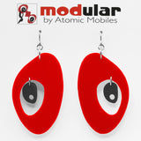 MODular Earrings - The Modernist Statement Earrings in Red and Black by AtomicMobiles.com - retro era inspired mod handmade jewelry
