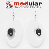 MODular Earrings - The Modernist Statement Earrings in White and Black by AtomicMobiles.com - retro era inspired mod handmade jewelry