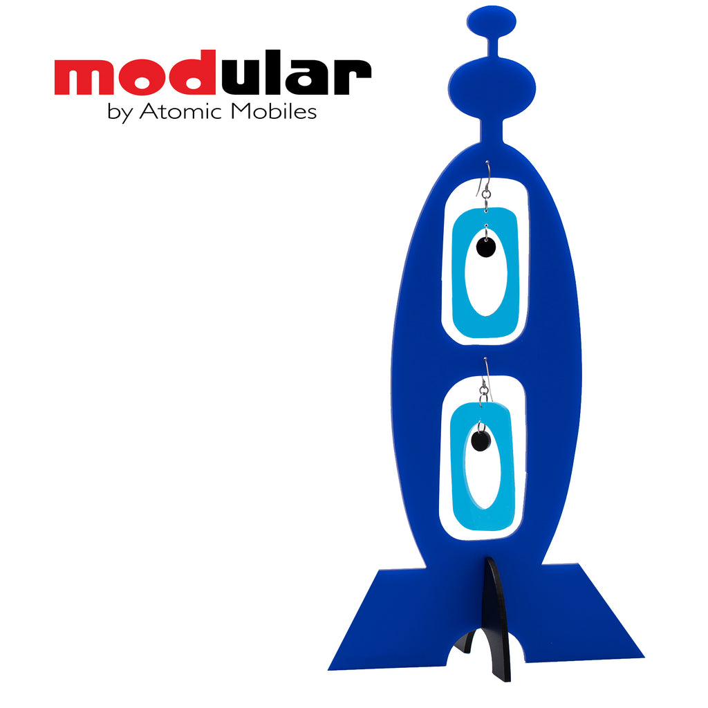 MODular Earrings + Stabile modern art sculpture in Blue by AtomicMobiles.com