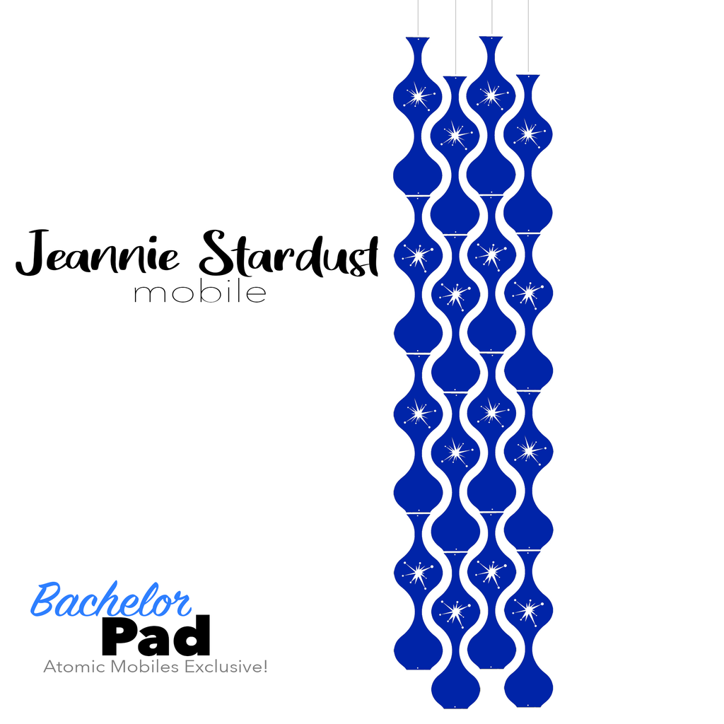 Bachelor Pad Jeannie Stardust Hanging Art Mobile - mid century modern home decor in Navy Blue - by AtomicMobiles.com