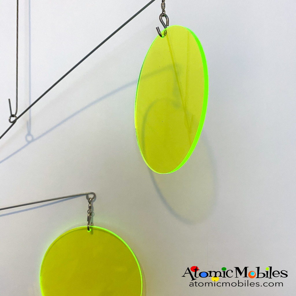 Neon Fluorescent Lime Green Atomic Mobile -  hanging modern kinetic art mobiles by AtomicMobiles.com