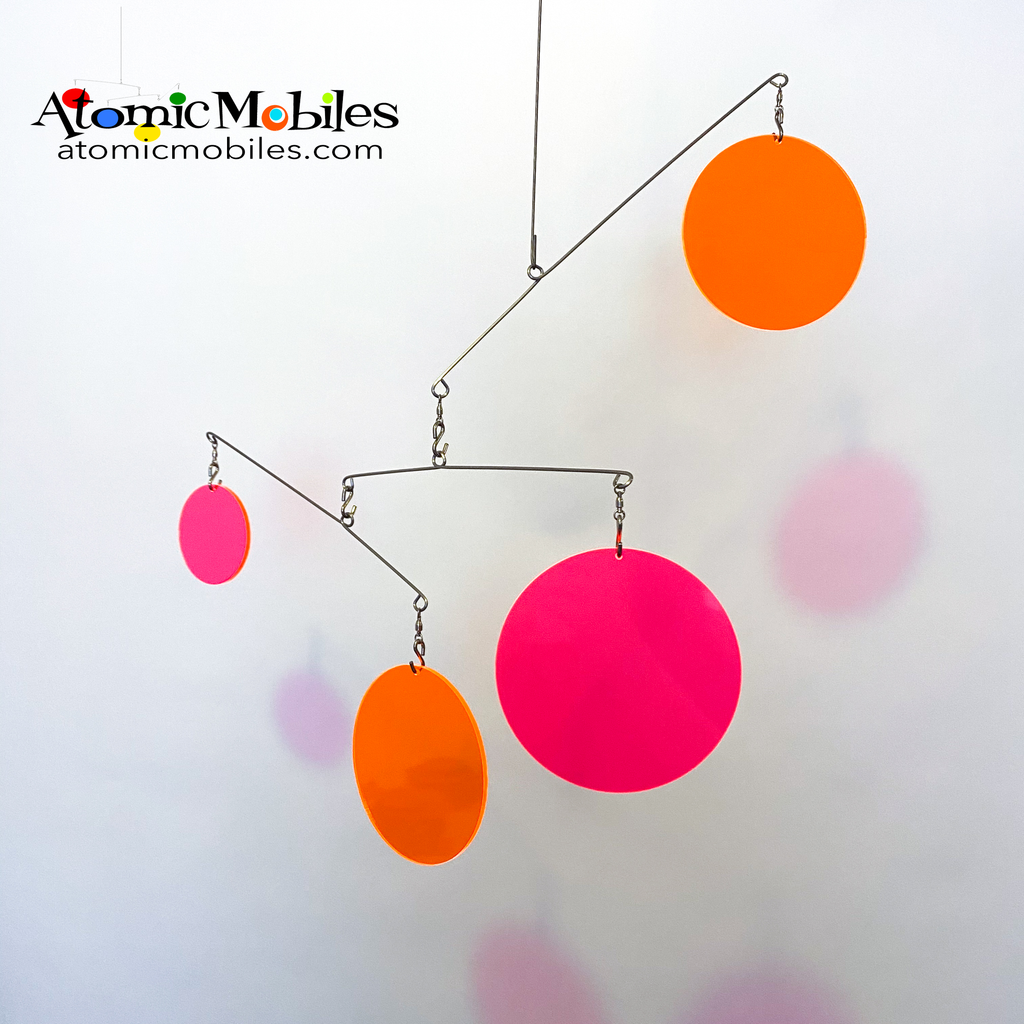 Neon Fluorescent Retro Hot Pink and Orange Atomic Mobile -  hanging modern kinetic art mobiles by AtomicMobiles.com