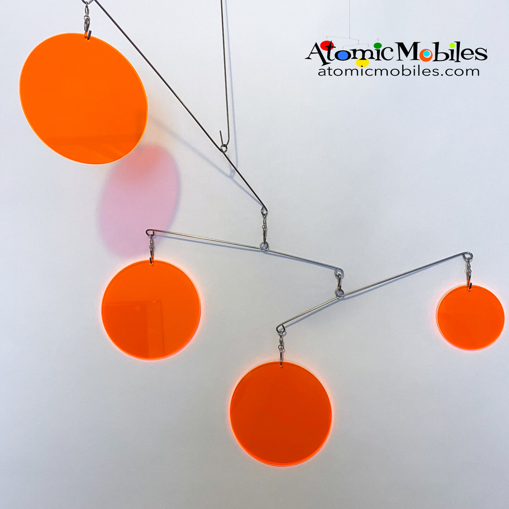 Neon Fluorescent Orange Atomic Mobile -  hanging modern kinetic art mobiles by AtomicMobiles.com