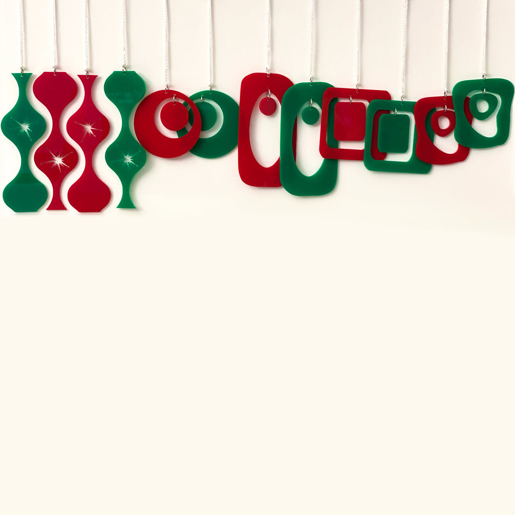 Festive set of 12 mid century modern style Christmas Ornaments in red and green by AtomicMobiles.com