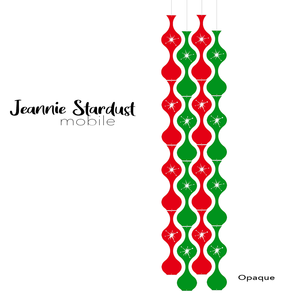 Jeannie Stardust Opaque Red and Green Acrylic Mobile - DIY Kit - Featuring Starburst cutouts in the parts by AtomicMobiles.com