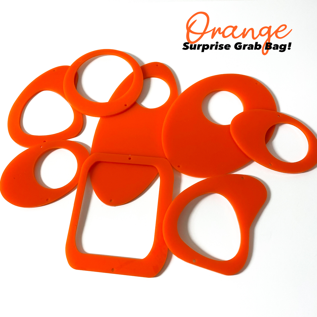 Orange Surprise Grab Bag of mid century modern inspired parts to make a hanging art mobile - DIY Kits by AtomicMobiles.com