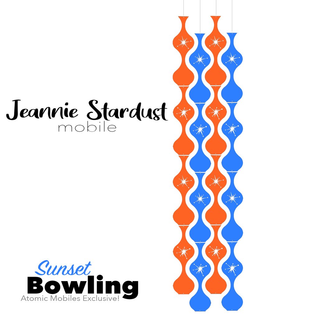 Sunset Bowling Jeannie Stardust Hanging Art Mobile - mid century modern home decor in Orange and Blue - by AtomicMobiles.com