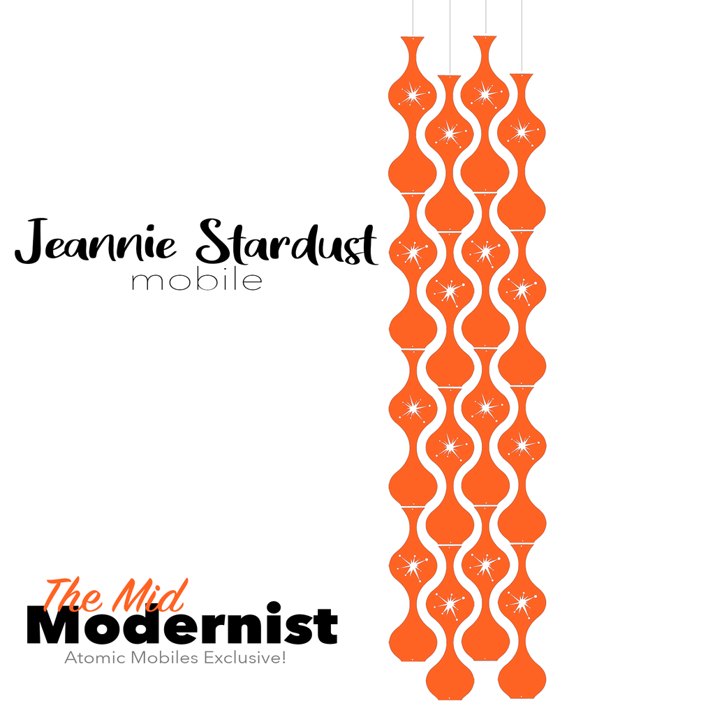 The Mid Modernist Jeannie Stardust Hanging Art Mobile - mid century modern home decor in Orange - by AtomicMobiles.com