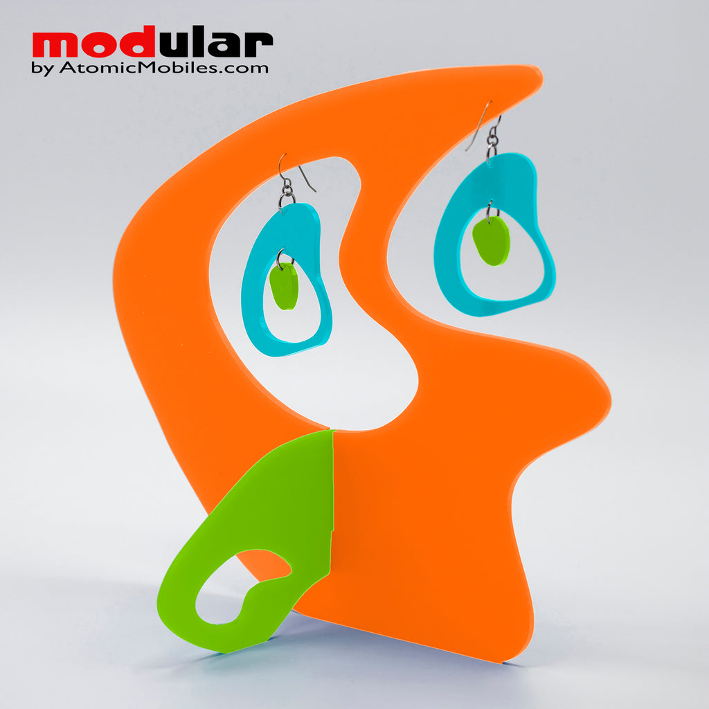 Handmade Boomerang Retro style earrings and stabile kinetic modern art sculpture in Orange Aqua and Lime by AtomicMobiles.com