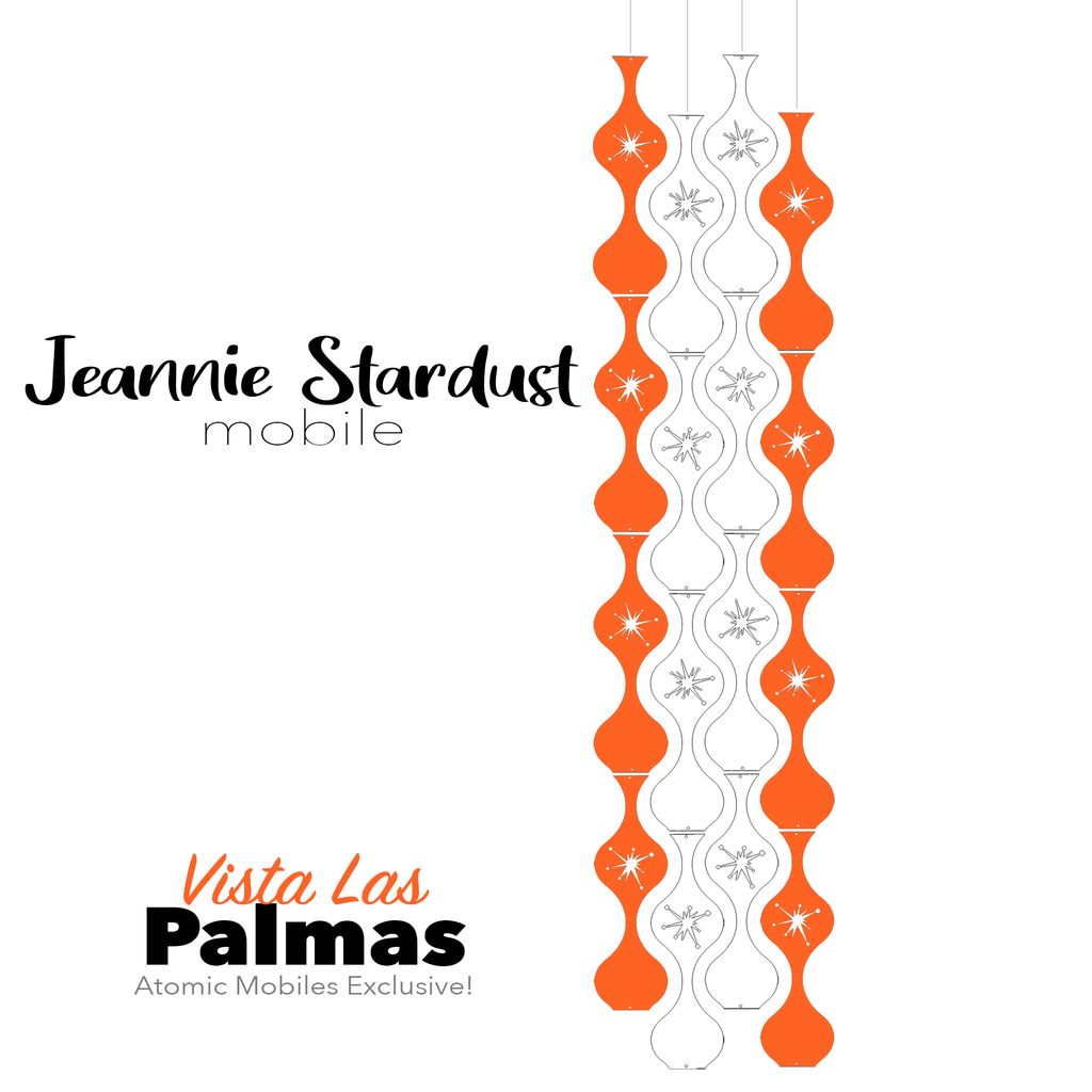 Vista Las Palmas Jeannie Stardust Hanging Art Mobile - mid century modern home decor in Orange and White - by AtomicMobiles.com