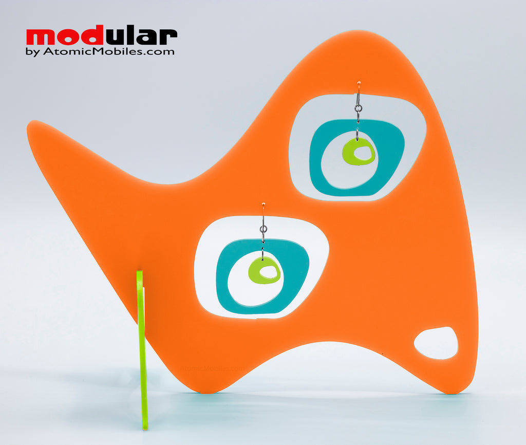 Handmade Paris retro mid century style earrings and stabile kinetic modern art sculpture in Orange Aqua and Lime by AtomicMobiles.com