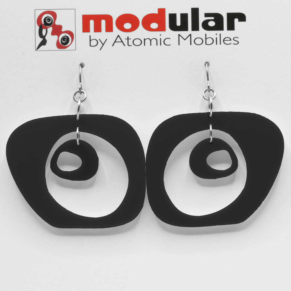 Paris Statement Earrings in Black - modern fashion inspired dangle earrings - handmade mod jewelry by AtomicMobiles.com