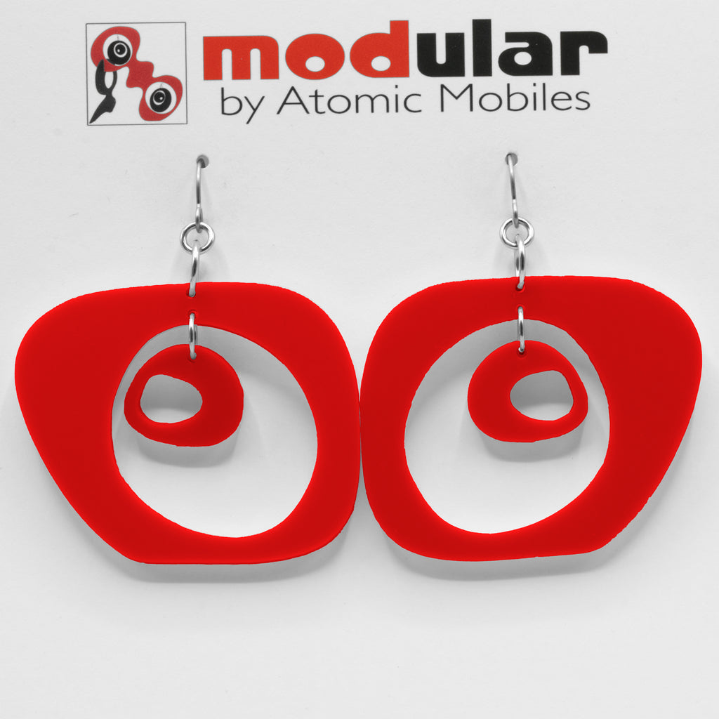 Paris Statement Earrings in Red - modern fashion inspired dangle earrings - handmade mod jewelry by AtomicMobiles.com