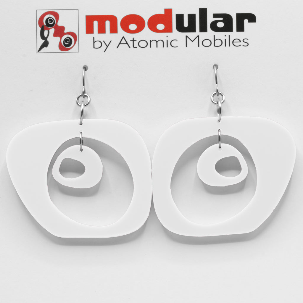 Paris Statement Earrings in White - modern fashion inspired dangle earrings - handmade mod jewelry by AtomicMobiles.com