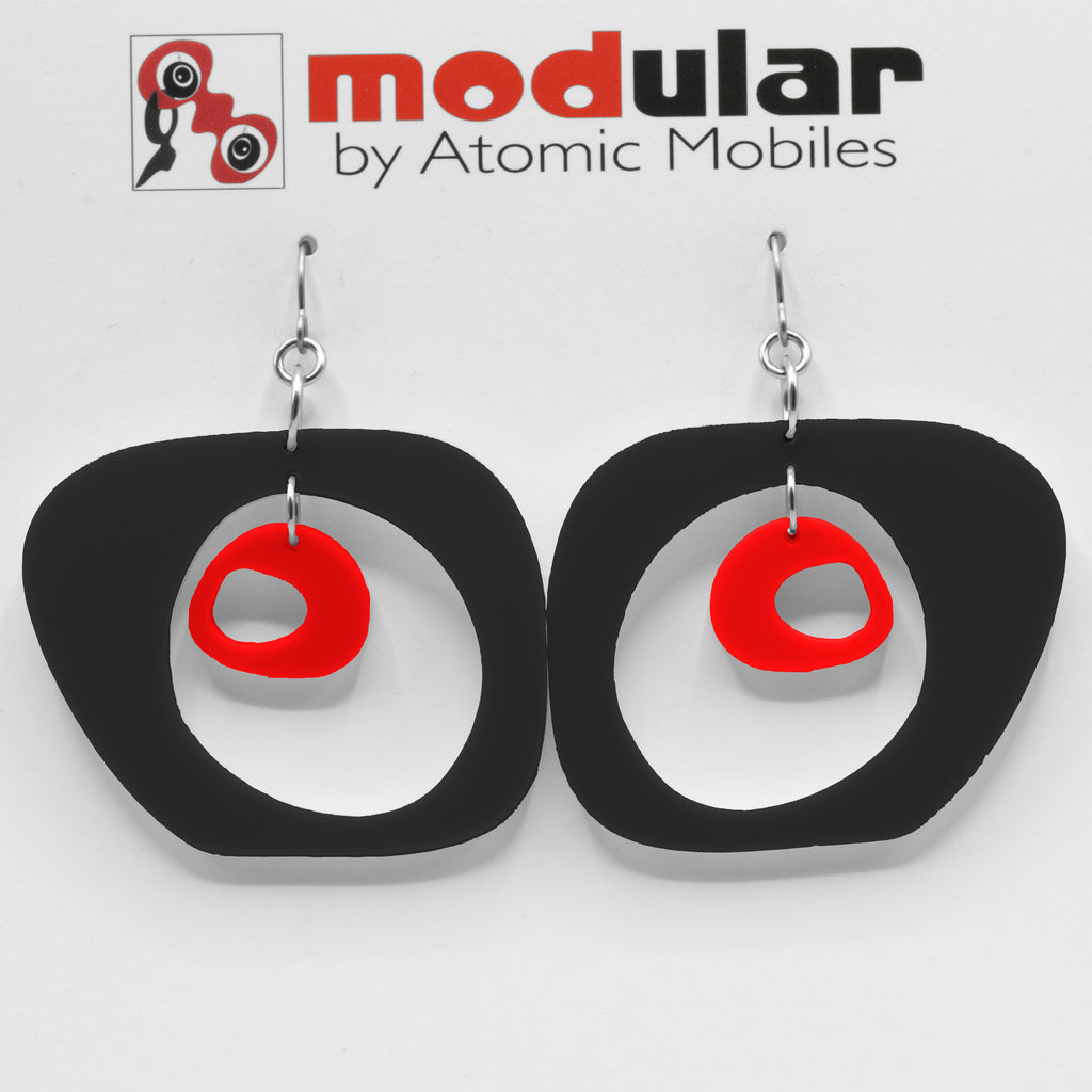 MODular Earrings - Paris Statement Earrings in Black and Red by AtomicMobiles.com - retro era inspired mod handmade jewelry