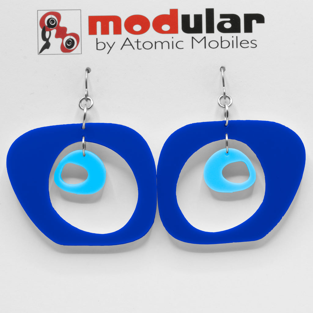 MODular Earrings - Paris Statement Earrings in Navy Blue by AtomicMobiles.com - retro era inspired mod handmade jewelry
