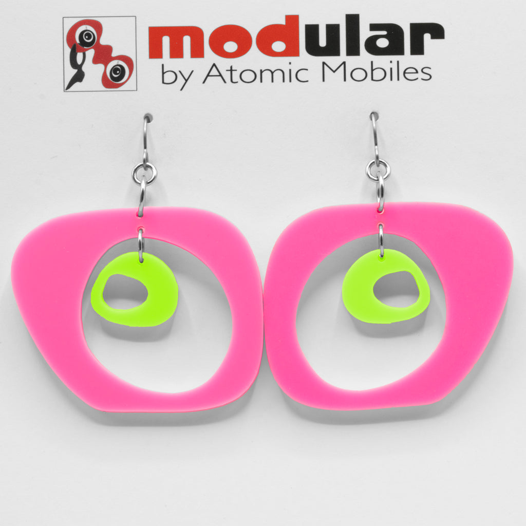 MODular Earrings - Paris Statement Earrings in Hot Pink and Lime by AtomicMobiles.com - retro era inspired mod handmade jewelry