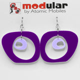 MODular Earrings - Paris Statement Earrings in Purple by AtomicMobiles.com - retro era inspired mod handmade jewelry