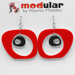 MODular Earrings - Paris Statement Earrings in Red and Black by AtomicMobiles.com - retro era inspired mod handmade jewelry