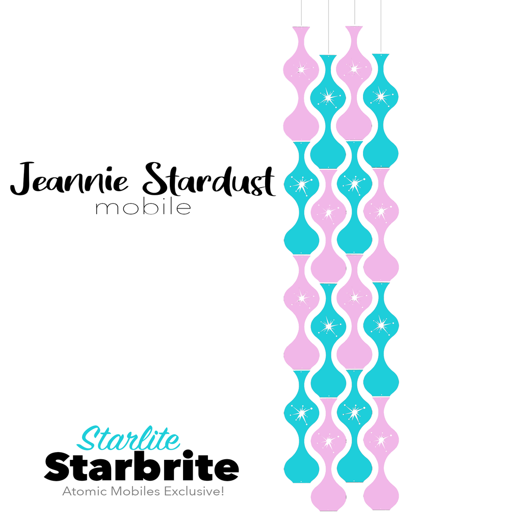 Starlite Starbrite Jeannie Stardust Hanging Art Mobile - mid century modern home decor in Aqua and Pink - by AtomicMobiles.com