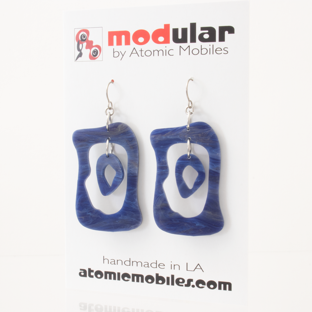 SALE! Denim Blue Retro Acrylic Earrings