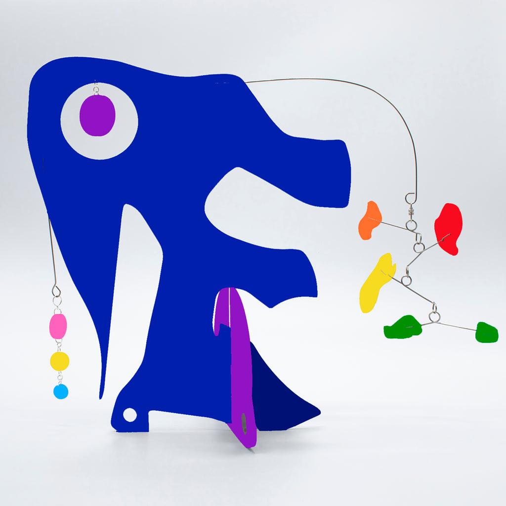 Cute Abstract Elephant Art - LGBTQ+ Rainbow Pride Modern Art Sculptures - kinetic table top mobiles by AtomicMobiles.com