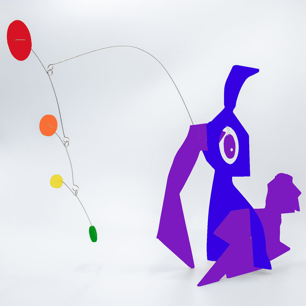 Cute Abstract Rabbit Art - LGBTQ+ Rainbow Pride Modern Art Sculptures - kinetic table top mobiles by AtomicMobiles.com