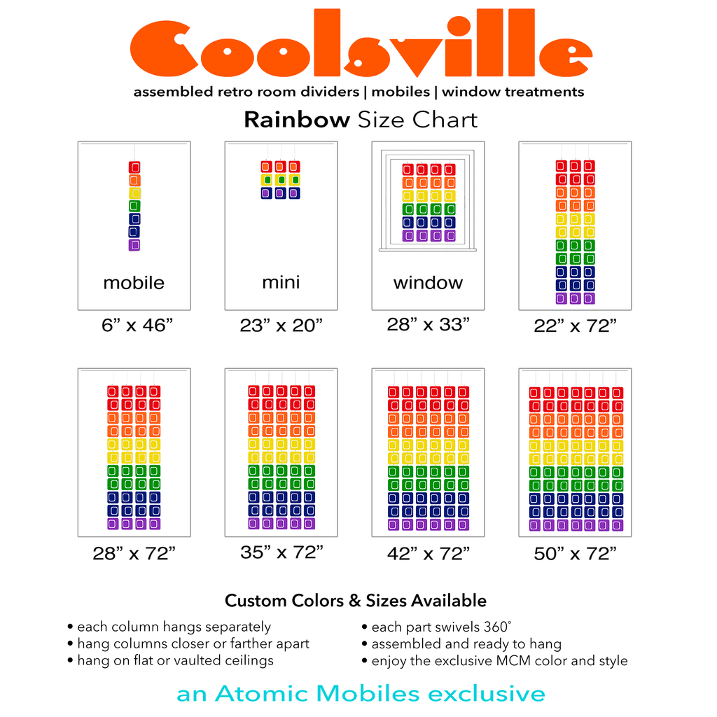 Size Chart for Rainbow Pride Colors Kinetic art mobiles, room dividers, and curtains by AtomicMobiles.com