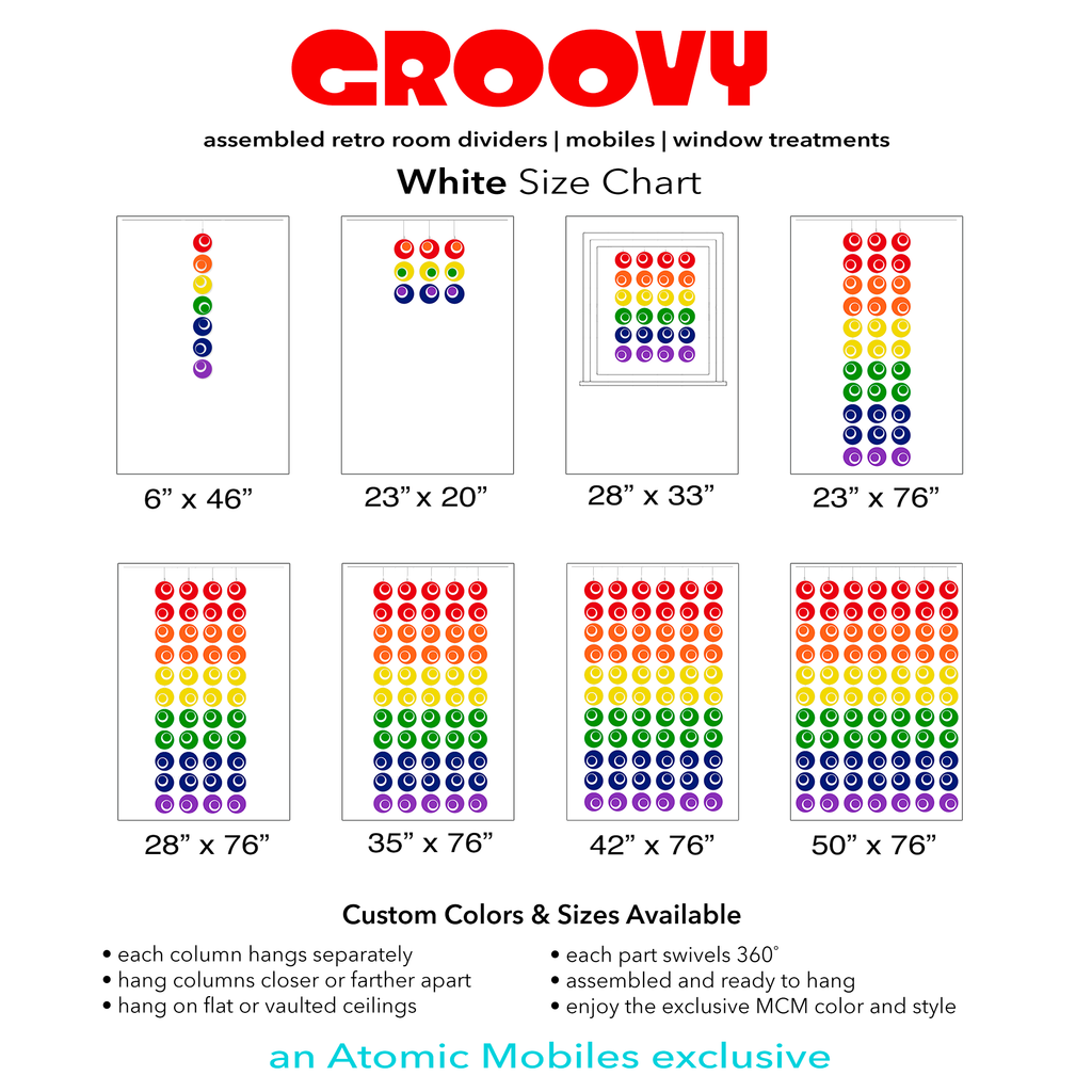 Size Chart for Rainbow Pride Groovy Atomic Screens Plexiglass Acrylic Room Dividers by AtomicMobiles.com - Mid century modern style room dividers and window curtains
