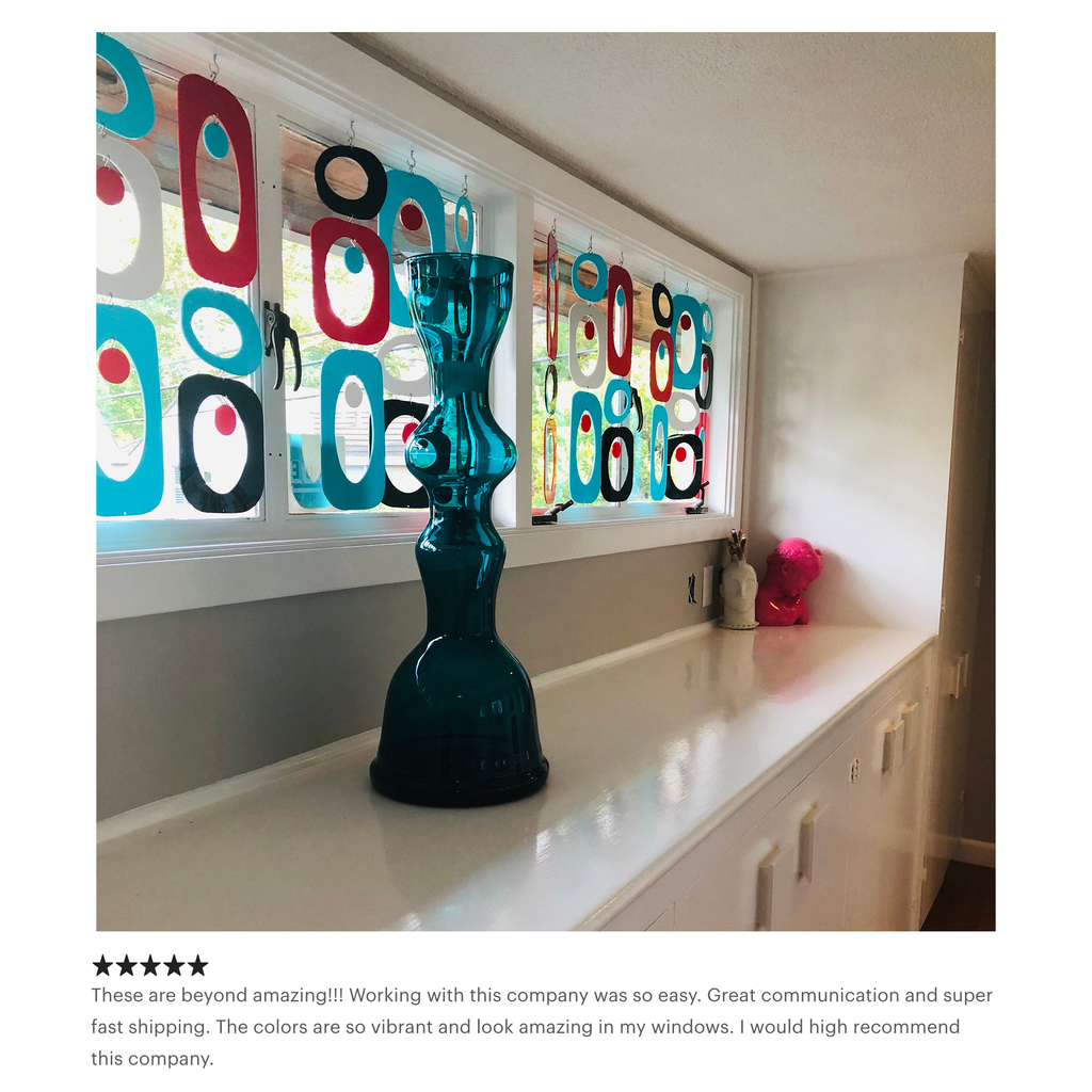 Customer review of red aqua black and gray retro mid century modern window treatment by AtomicMobiles.com