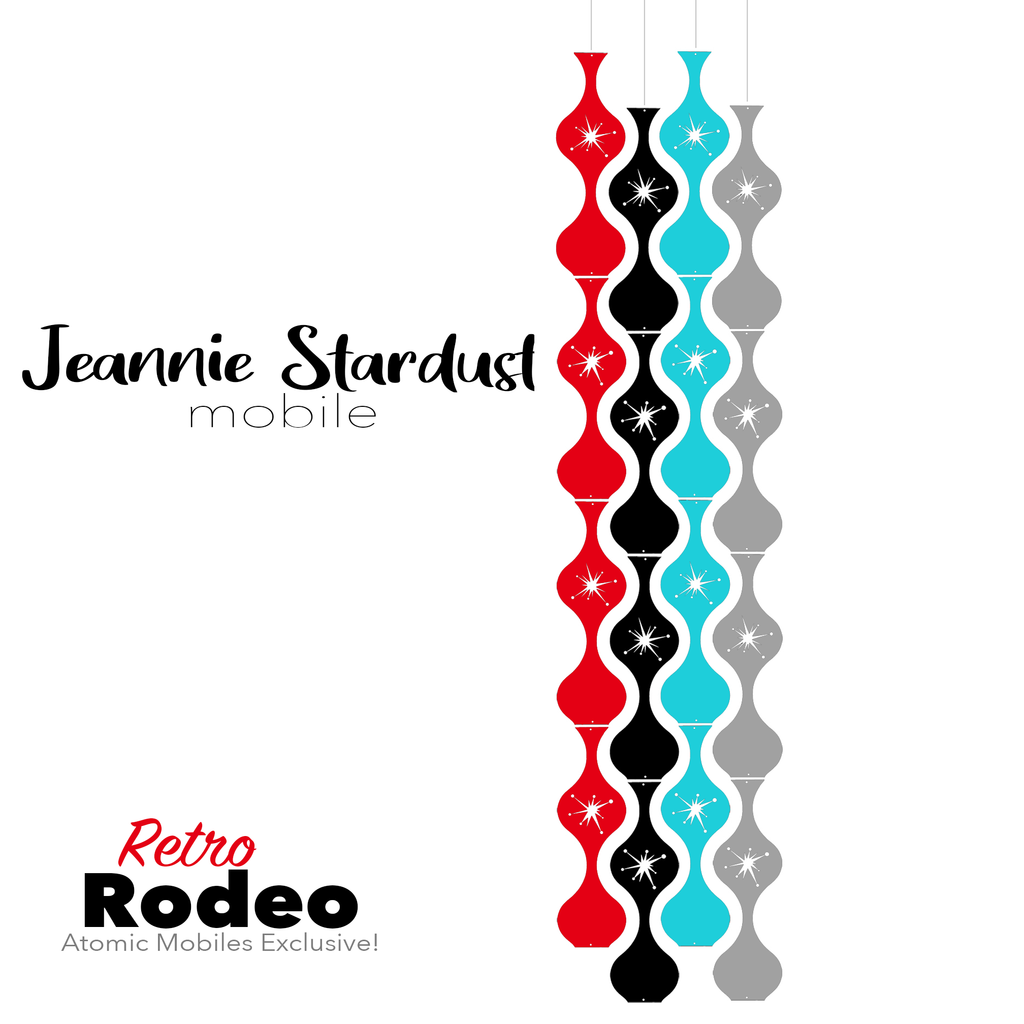 Retro Rodeo Jeannie Stardust Hanging Art Mobile - mid century modern home decor in Red, Aqua, Black, and Gray - by AtomicMobiles.com