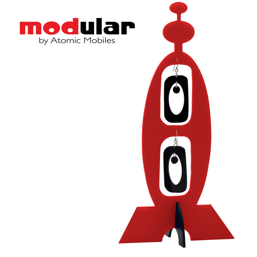 MODular Earrings + Stabile modern art sculpture in red and black by AtomicMobiles.com