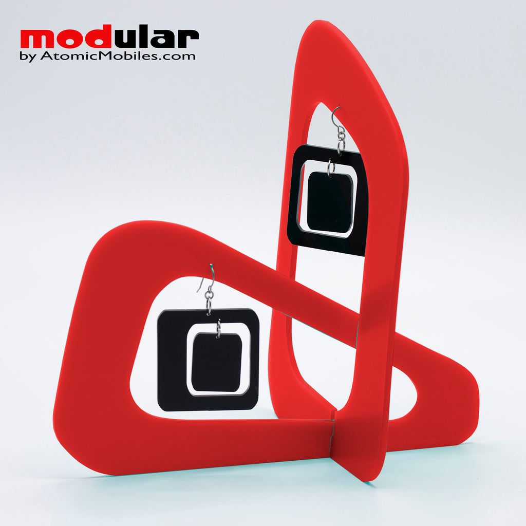 Handmade Coolsville mod style earrings and stabile kinetic modern art sculpture in Red and Black by AtomicMobiles.com
