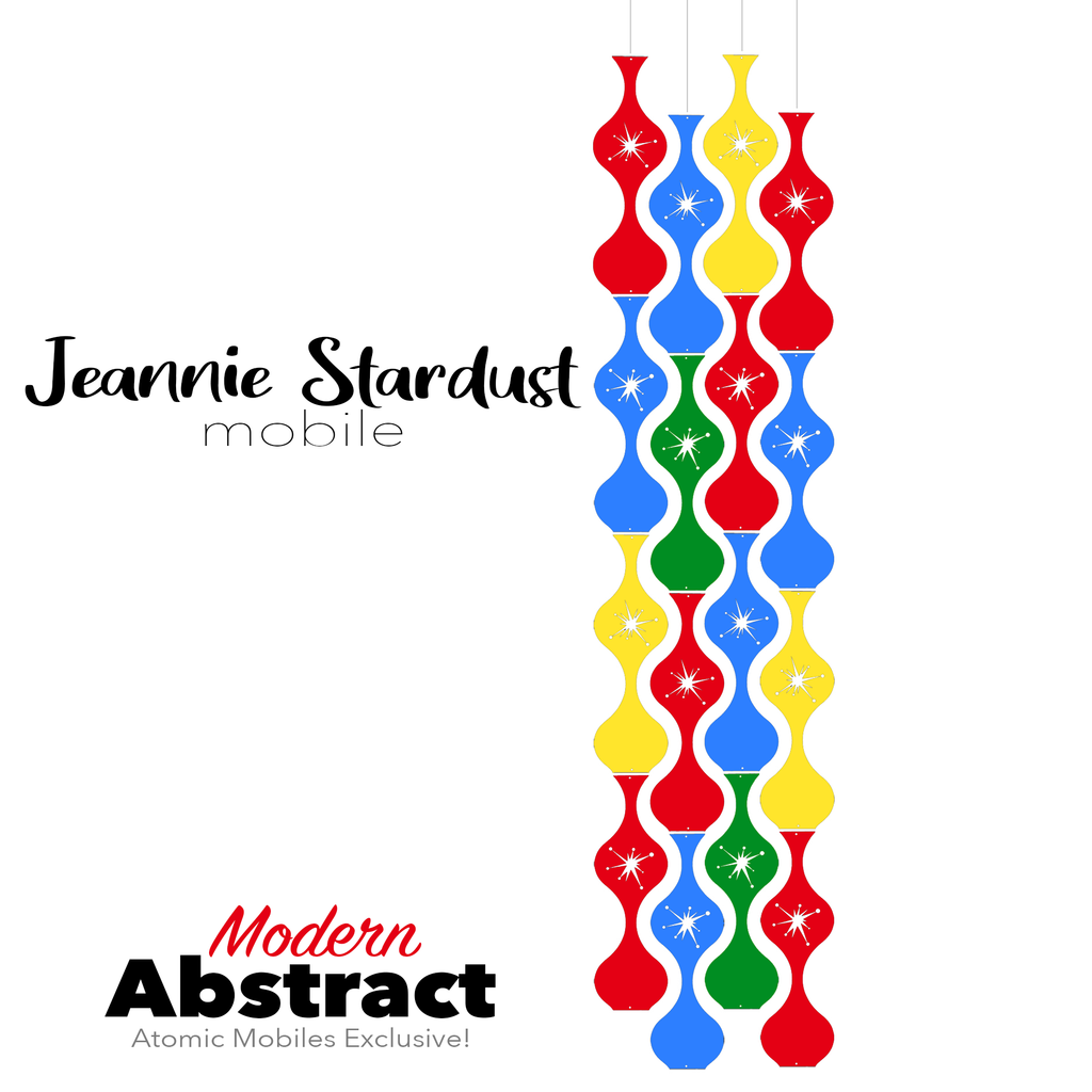 Modern Abstract Jeannie Stardust Hanging Art Mobile - mid century modern home decor in colorful colors of Red, Blue, Yellow, and Green - by AtomicMobiles.com