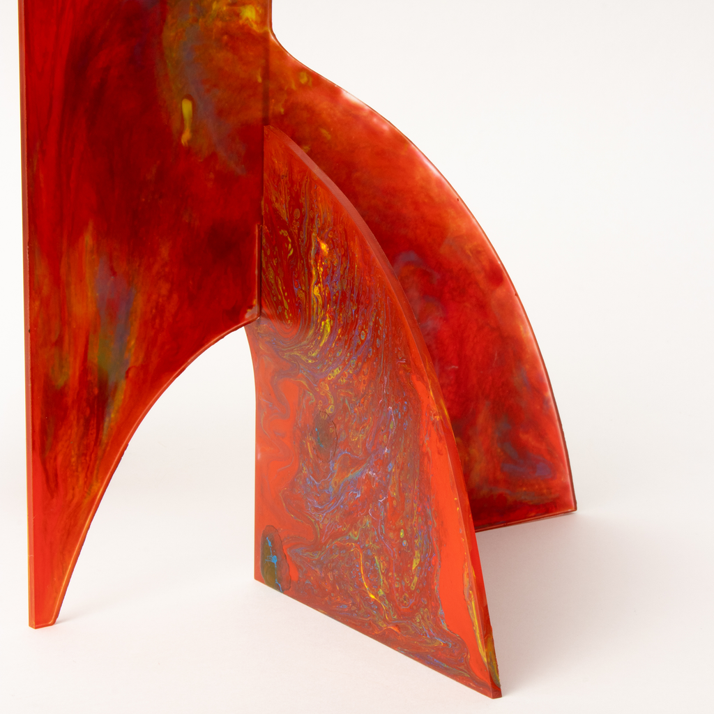 Beautiful stunning Red Hand Painted Modern Art Stabile Sculpture by AtomicMobiles.com