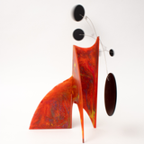 Back view of stunning Red Hand Painted Modern Art Stabile Sculpture by AtomicMobiles.com