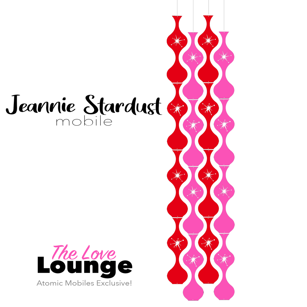 The Love Lounge Jeannie Stardust Hanging Art Mobile - mid century modern home decor in Red and Hot Pink - by AtomicMobiles.com