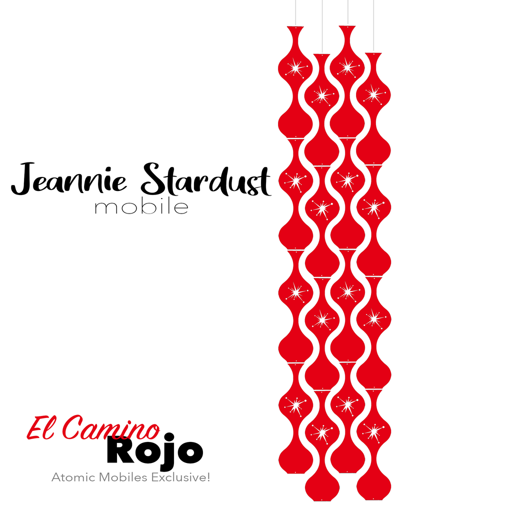 El Camino Rojo Jeannie Stardust Hanging Art Mobile - mid century modern home decor in Red - by AtomicMobiles.com