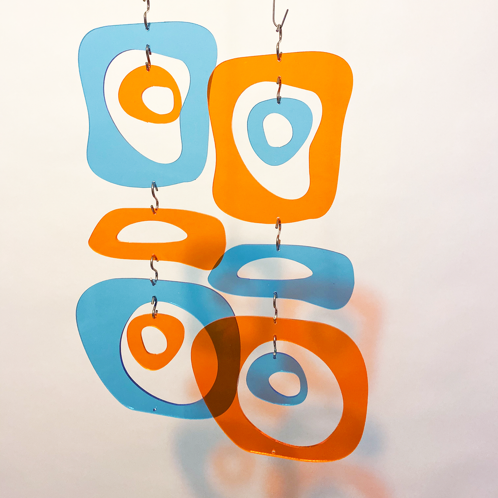Clear Acrylic Orange and Blue Retro Room Divider, Curtain, Wall Art, and Mobiles by AtomicMobiles.com