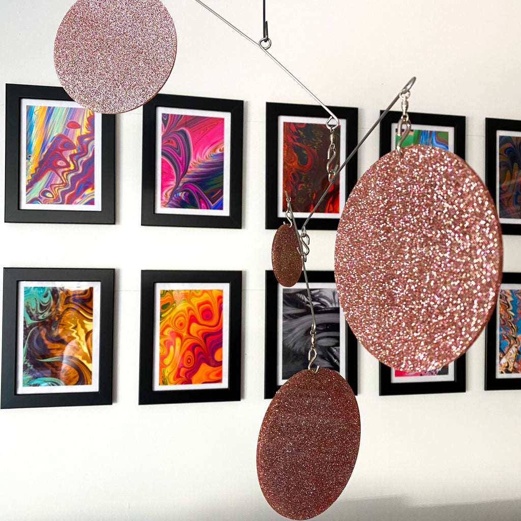 Gorgeous Rose Gold Atomic Mobile with abstract art in small picture frames -  DIY Kit - kinetic hanging art by AtomicMobiles.com