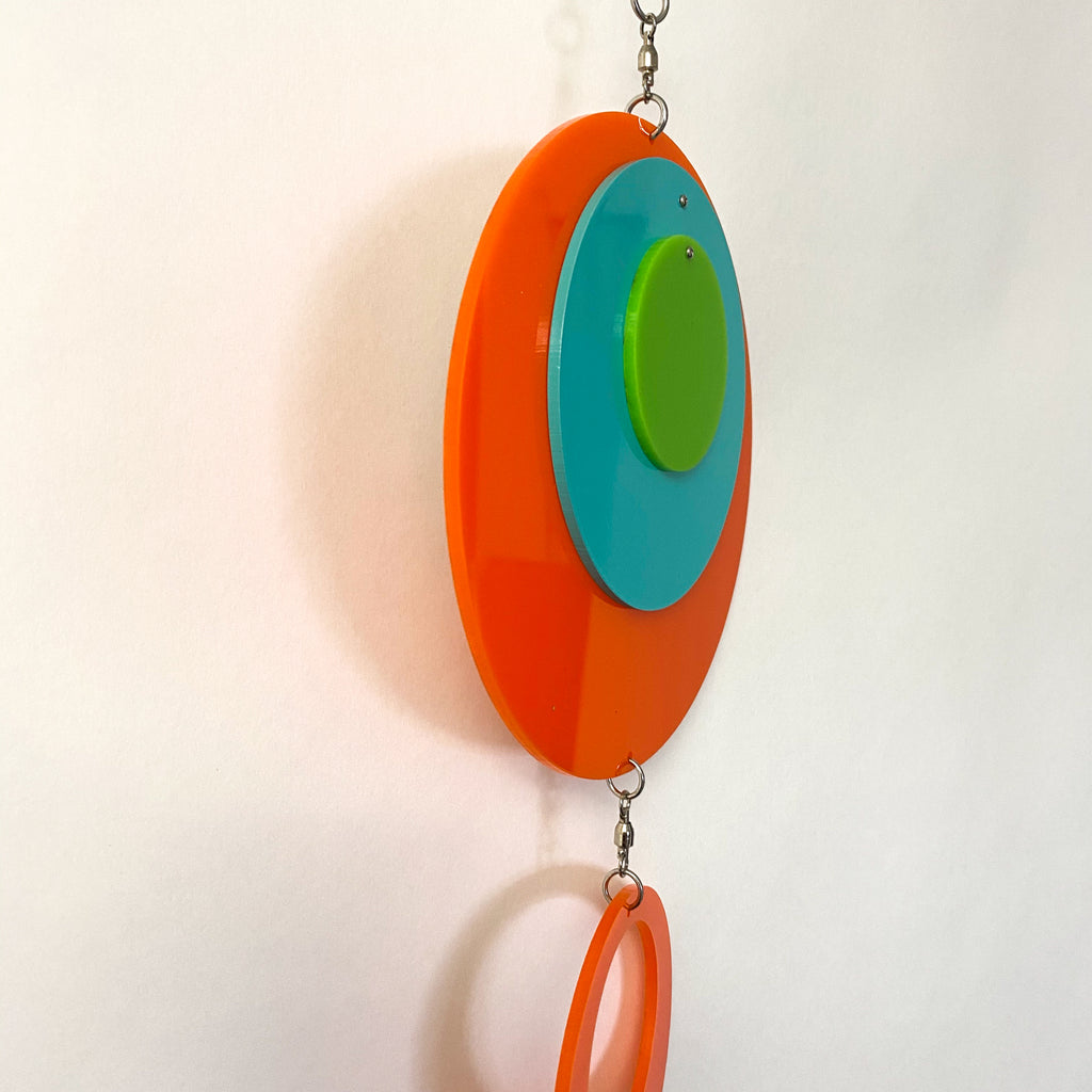 Side of Palm Springs Retro Vertical Hanging Mobile in Palm Springs Colors of Orange, Aqua, and Lime by AtomicMobiles.com