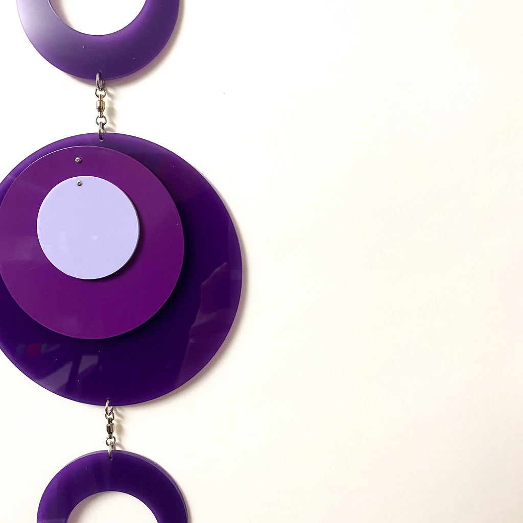 Hot Retro 1970s vertical kinetic art mobile in purple circle DOTS ready to ship today by AtomicMobiles.com