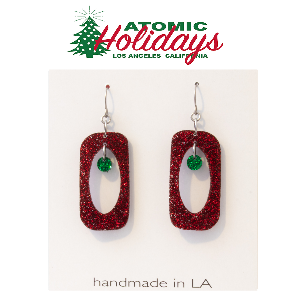 Stunning Glitter Glam Red and Green Christmas Small Earrings by AtomicMobiles.com