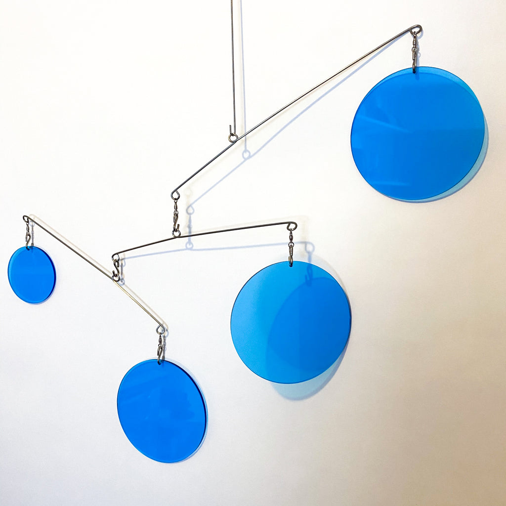 Clear Blue Acrylic Atomic Mobile - kinetic hanging art mobiles for modern home decor by AtomicMobiles.com