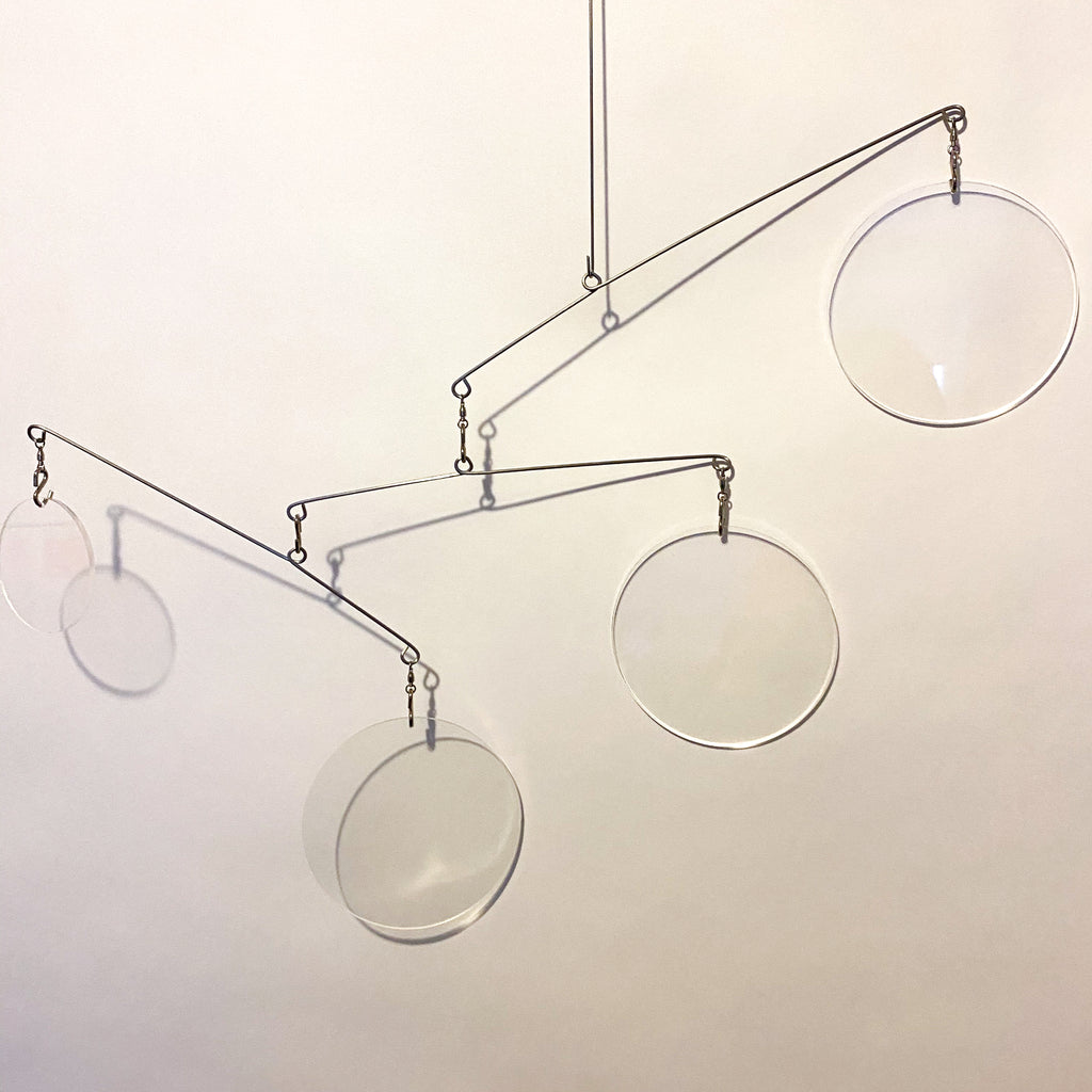 Clear Acrylic Atomic Mobile - kinetic hanging art mobiles for modern home decor by AtomicMobiles.com