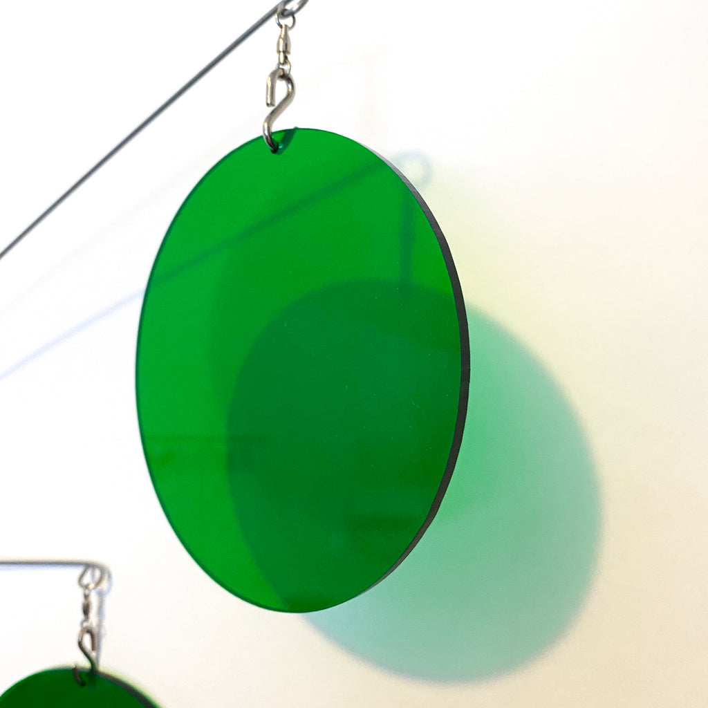 Closeup of Clear Green Acrylic Atomic Mobile - kinetic hanging art mobiles for modern home decor by AtomicMobiles.com