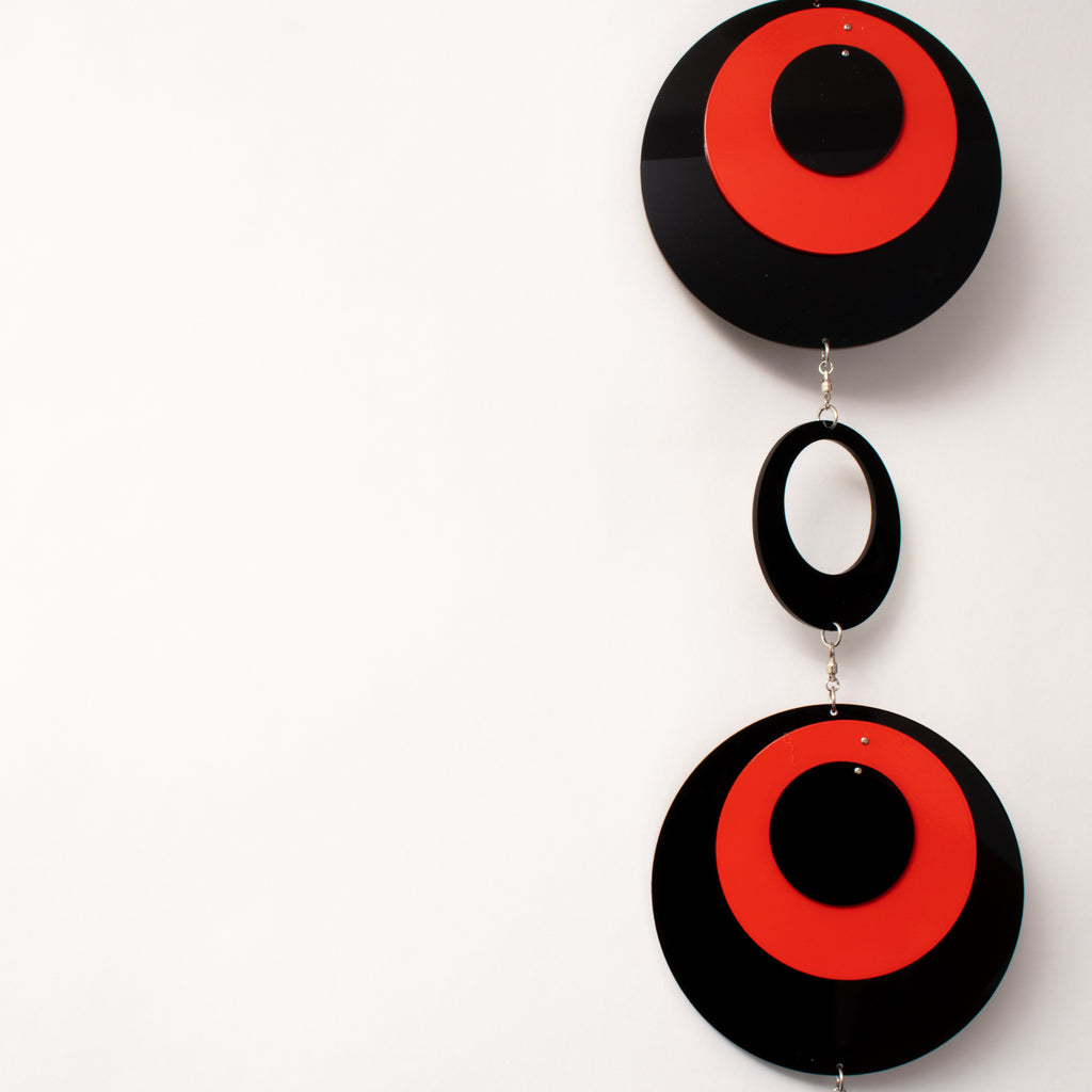POPdots in black and red closeup - wall art mobiles by atomicmobiles.com
